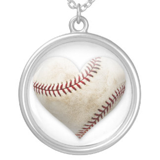 Baseball Heart Silver Plated Necklace