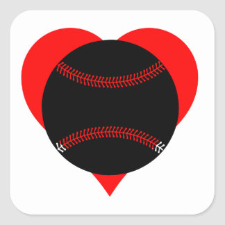 Baseball Heart Square Sticker