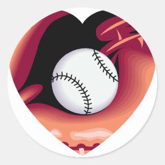 Baseball Heart Round Sticker