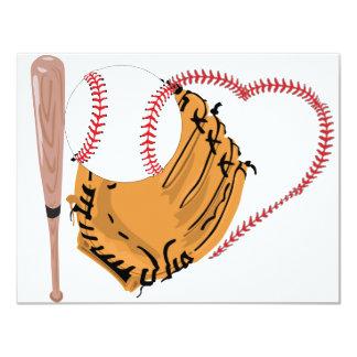 Baseball Heart & Text Custom Announcement