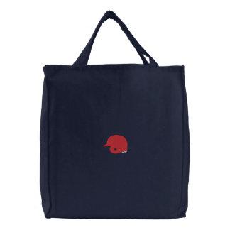 Baseball Helmet Embroidered Tote Bag