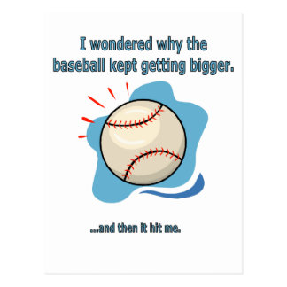 baseball hit me postcard