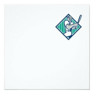 Baseball Hitter Batting Diamond Retro Card