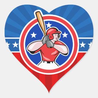 Baseball Hitter Heart Sticker