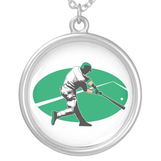 baseball hitter vector illustration necklaces