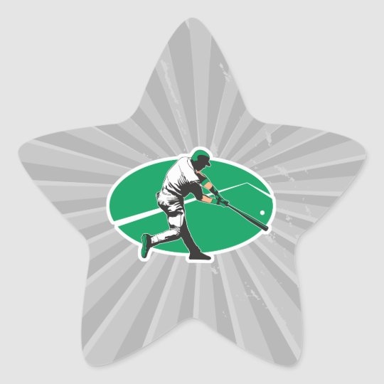 baseball hitter vector illustration star sticker