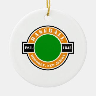 Baseball Hoboken Established Logo Ceramic Ornament