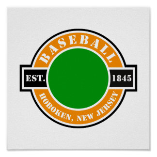 Baseball Hoboken Established Logo Posters