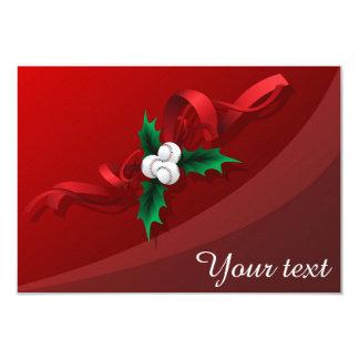 Baseball Holly Christmas 3.5x5 Paper Invitation Card
