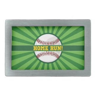 Baseball Home Run Rectangular Belt Buckle
