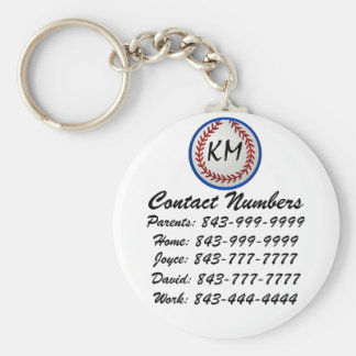 baseball Important Phone Numbers Keychain