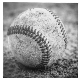 Baseball in Black and White Ceramic Tile