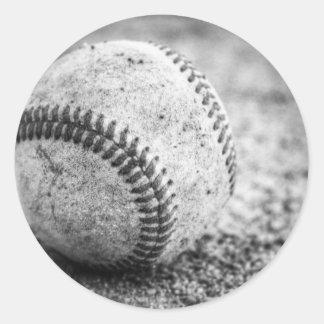 Baseball in Black and White Classic Round Sticker