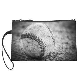 Baseball in Black and White Suede Wristlet
