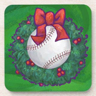 Baseball in Christmas Wreath Beverage Coaster