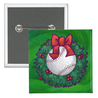 Baseball in Christmas Wreath Pinback Button