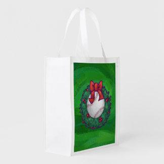 Baseball in Christmas Wreath Reusable Grocery Bag
