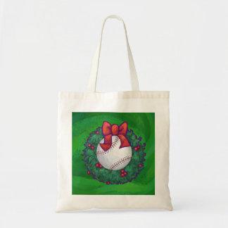 Baseball in Christmas Wreath Tote Bag