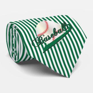 Baseball in Dark Green and White Stripes Neck Tie