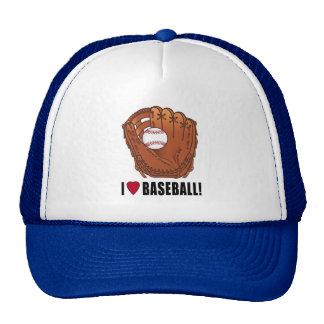 Baseball in Glove: I Love Baseball! Trucker Hat