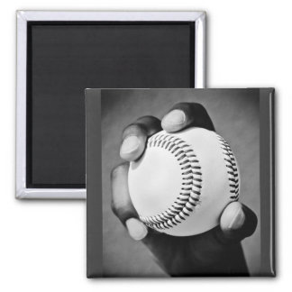 baseball in hand 2 inch square magnet