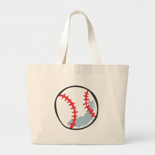 Baseball in Hand-drawn style Large Tote Bag