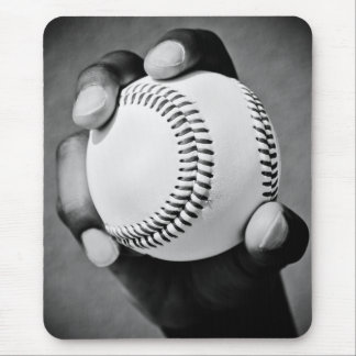 baseball in hand mouse pad
