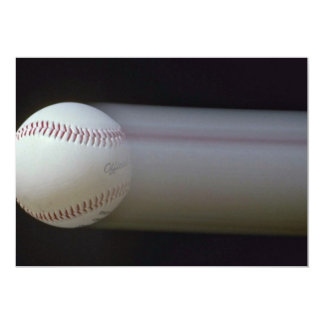 Baseball in motion 5x7 paper invitation card