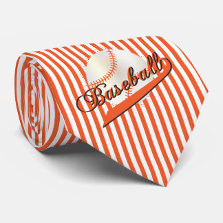 Baseball in Orange and White Stripes Neck Tie