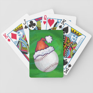 Baseball in Santa Hat on Green Bicycle Playing Cards
