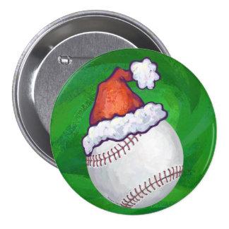Baseball in Santa Hat on Green Button