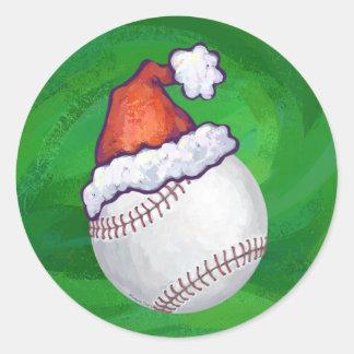 Baseball in Santa Hat on Green Classic Round Sticker