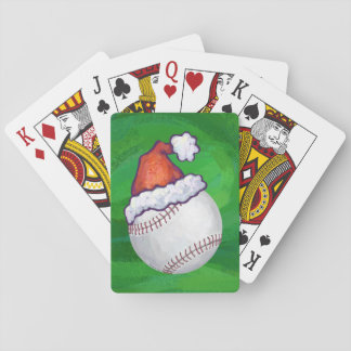 Baseball in Santa Hat on Green Deck Of Cards