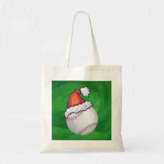 Baseball in Santa Hat on Green Tote Bag