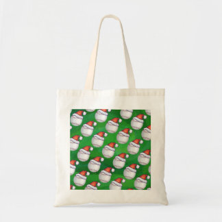Baseball in Santa Hat Pattern on Green Tote Bag