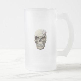 Baseball in Skull Frosted Glass Beer Mug