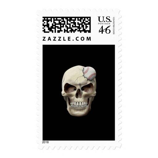 Baseball in Skull Stamp
