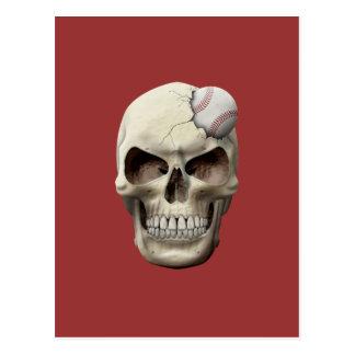 Baseball in Skull Postcard