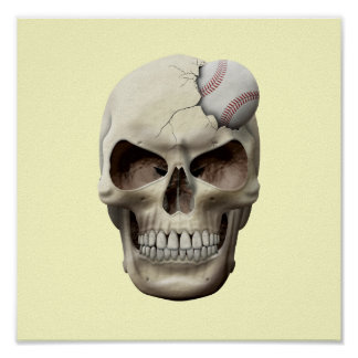 Baseball in Skull Poster