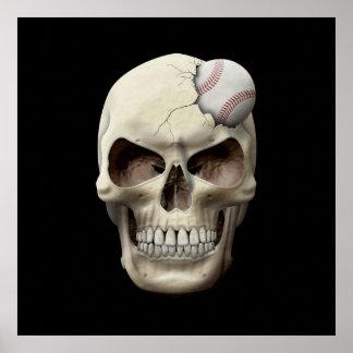 Baseball in Skull Print