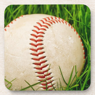 Baseball in the Grass Drink Coaster