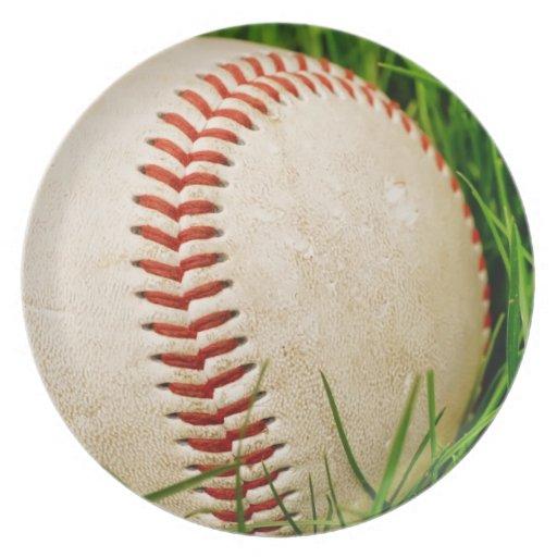 Baseball in the Summer Grass Dinner Plates
