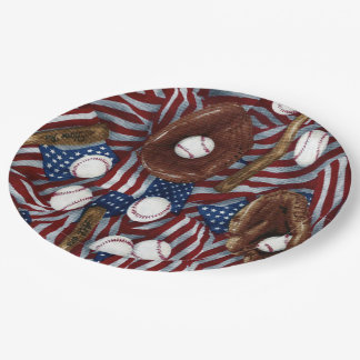 Baseball In The USA Paper Plates 9 Inch Paper Plate