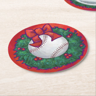Baseball in Wreath on Red Round Paper Coaster