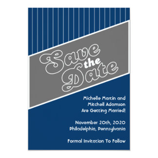 Baseball Inspired Save The Date (Gray / Navy Blue) Card