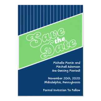 Baseball Inspired Save The Date (Green/Navy Blue) Card