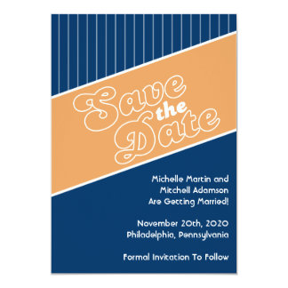 "Baseball Inspired Save The Date (Orange/Navy Blue) 5"" X 7"" Invitation Card"
