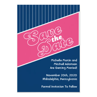 """Baseball Inspired Save The Date (Pink / Navy Blue) 5"""" X 7"""" Invitation Card"""