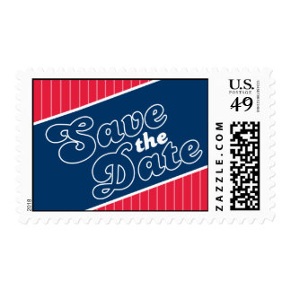 Baseball Inspired Save The Date Postage Navy Blue