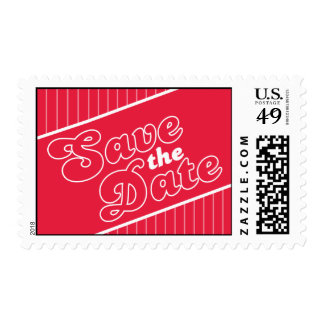 Baseball Inspired Save The Date Postage (Red)